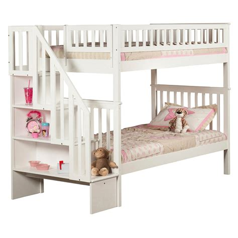 staircase bunk bed woodland twin twin staircase bunk bed white ab56602