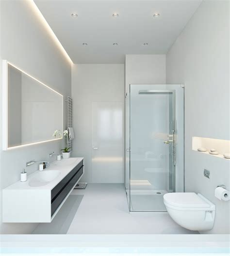 modern white bathroom three apartments with extra special lighting schemes