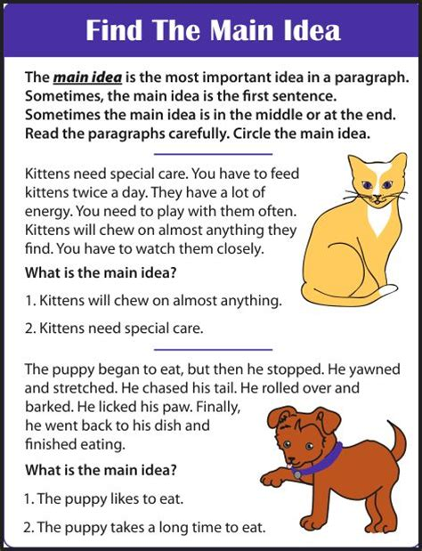 finding the idea worksheets 3rd grade finding the
