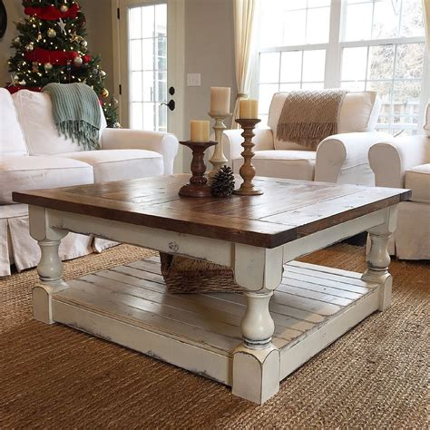 chunky farmhouse coffee table pictures diy