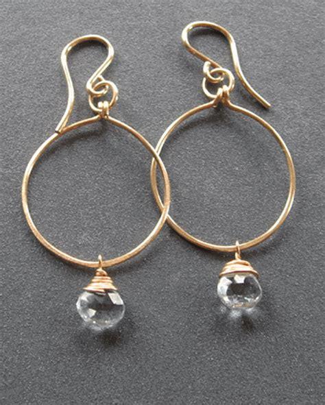 Handmade Hoop Earrings - handmade hammered hoop aquamarine earrings at dasha boutique