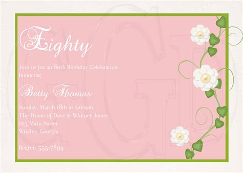 invitation layout inspiration birthday invites best 10 80th birthday invitation wording