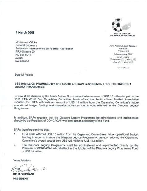 leaked letter exposes fifa million bribe south