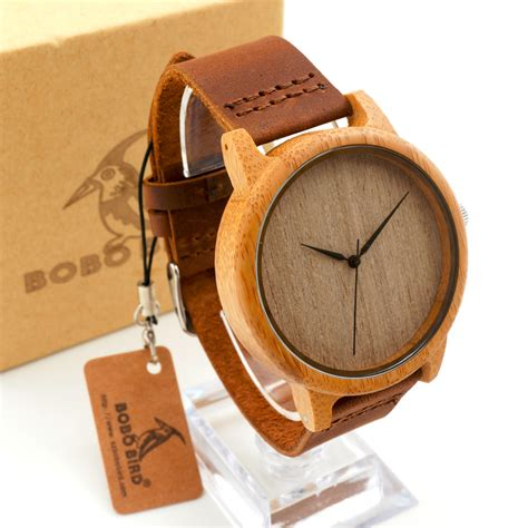 Genuine Cowhide Leather 2016 S Bamboo Wooden Wristwatches With Genuine Cowhide