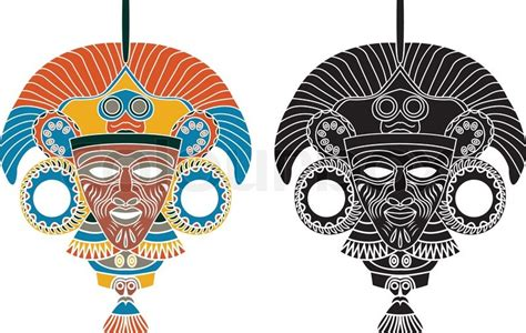 aztec mask template aztec mask stencil in two variants stock vector colourbox