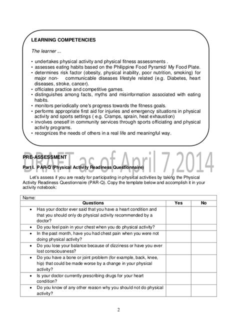 par q template for sport k to 12 grade 9 learner s material in pe