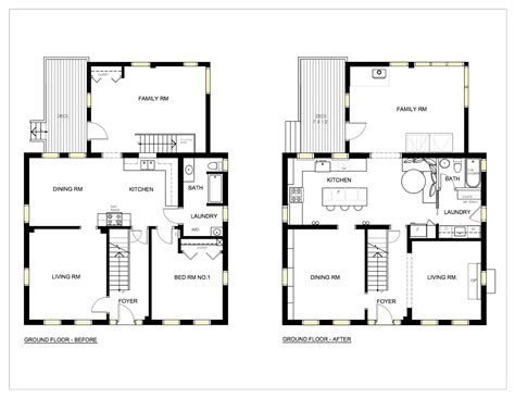 remodel floor plans before and after bungalow house