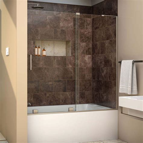 Tub With Glass Door Dreamline Mirage X 56 In To 60 In X 58 In Semi Frameless Sliding Tub Door In Brushed Nickel