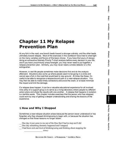 relapse prevention plan template worksheet substance abuse relapse prevention plan
