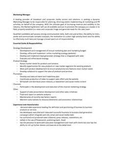 Marketing Director Roles And Responsibilities by Duties And Responsibilities Of Marketing Manager By Ecf15764