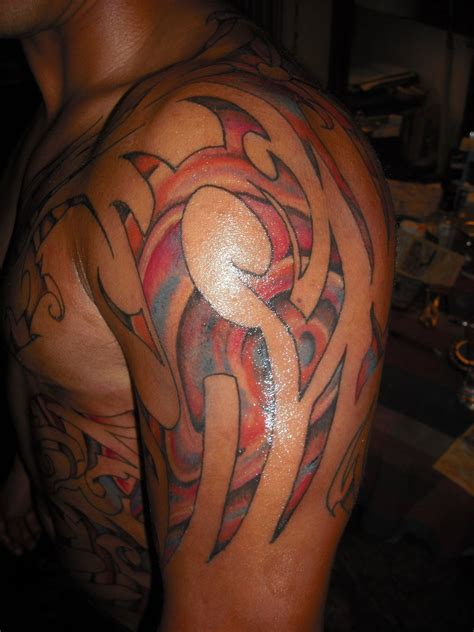 colored tattoos for men 19 unique colorful tribal tattoos only tribal