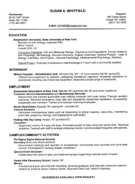 resume for students exles resume exles for college students sle resumes