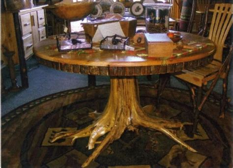 tree trunk table and chairs amish rustic hickory dining table 48 quot tree stump