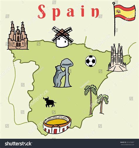 doodle barcelona spain landmarks map doodle vector stock vector