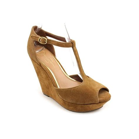 jessica simpson shama womens size  brown wedge sandals shoes top fashion web