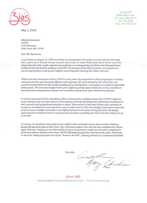 Thank You Letter For Restaurant Testimonials Catco Inc Construction