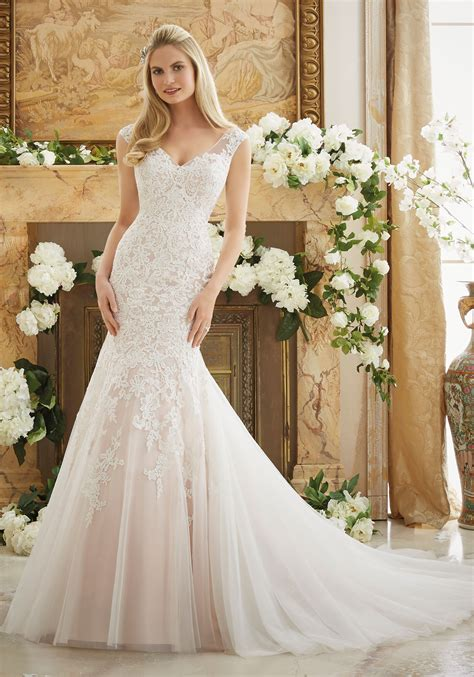 Lace Style Wedding Dresses by Vintage Lace On Soft Net Bridal Dress Style 2888 Morilee