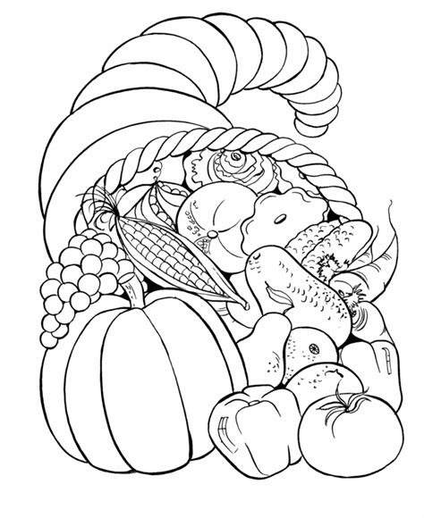coloring page for thanksgiving free coloring pages thanksgiving cornucopia coloring pages