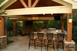 Freestanding patio cover with kitchen amp fireplace in the woodlands