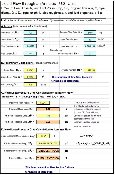 Hydraulic Grade Line Calculation Spreadsheet by Engineering Excel Templates