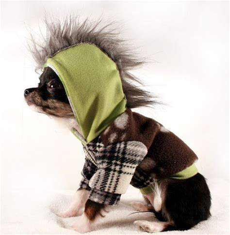 teacup puppy clothes xxs teacup clothes green and grey fleece mohawk hoodie xxs mohawks puppy