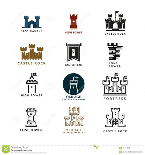 Chateau Style House Plans Castle Fortress Vector Logo Set Stock Vector Image