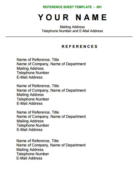References Sheet Template sle reference sheet 9 exles format