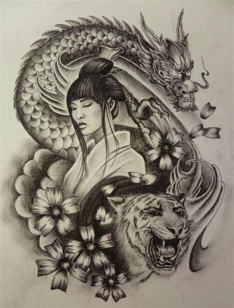 geisha kriegerin tattoo pin von darkzero auf japan pinterest skizzenb 252 cher