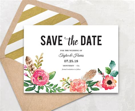 The Date Calendar Card Free Template by Printable Save The Date Card Save The Date Template Peony