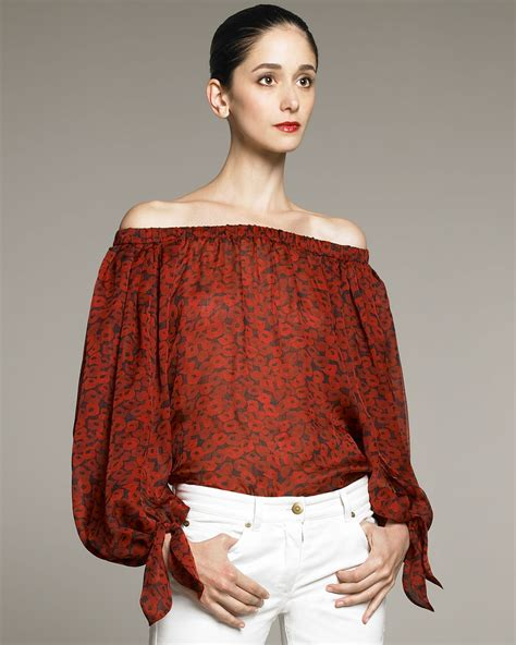 blouse st yves sabrina laurent poppy print peasant blouse in lyst