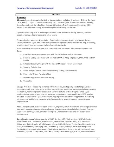 Finance Manager Resume Sle by Arul Selvan U0027s Resume Vp Director Software Engineering
