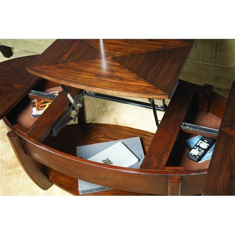 hammary concierge oval lift top cocktail table in brown