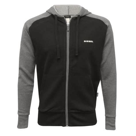 diesel premium logo zip through hoodie black grey underu