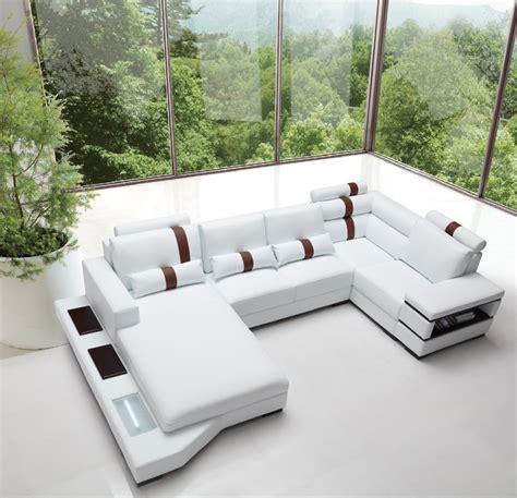 Massimo Modern White Leather Sectional Sofa Sectional Sofas White