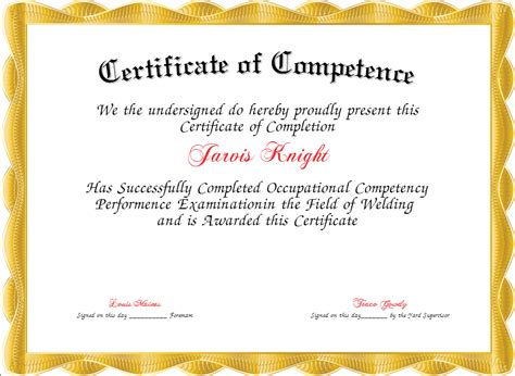 competency certificate template 28 images