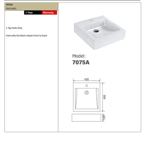 Arto 7075A Bench mounted square basin ? Bathroom Supplies