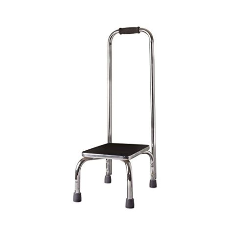 duro med step stool with handle silver and black
