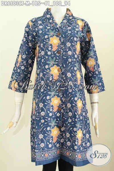 Dress Batik Tulis Biru sedia baju batik wanita karier dress batik warna biru