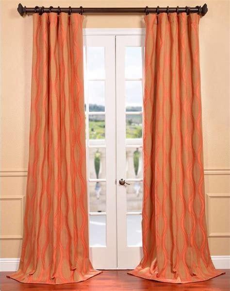 contemporary orange curtains elsa orange jacquard curtain panel contemporary
