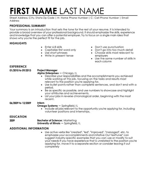 Free Resume Templates Fast Easy Livecareer Resume Outline Template