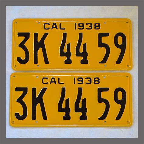 Vanity Plates For Sale by 1938 California Yom License Plates For Sale Restored