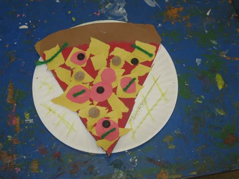 Paper Plate Food Crafts - pizza craft on paper plate teaching