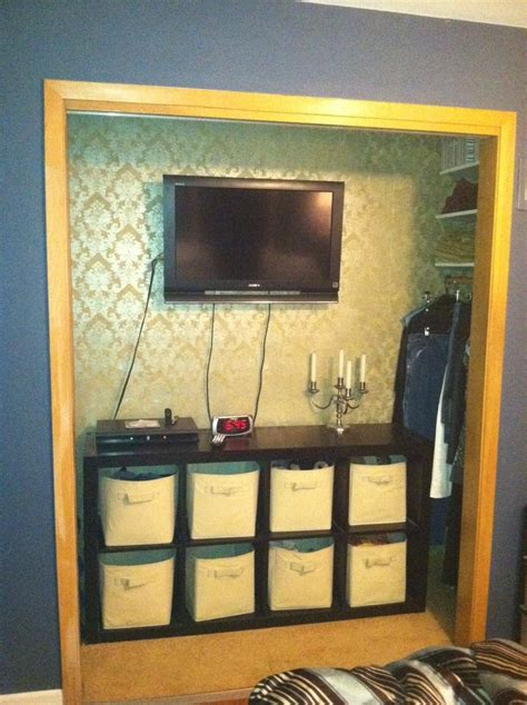 transforming  closet   tv nook master bedroom diy
