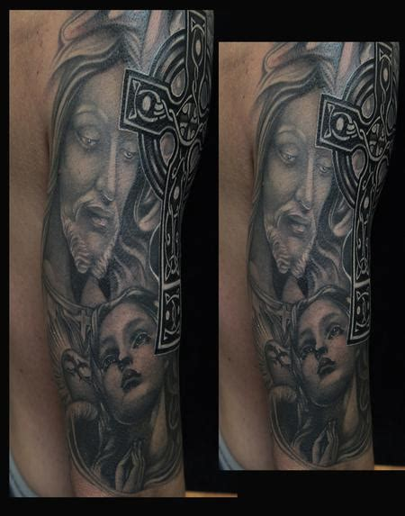 black and grey religious tattoos art junkies tattoo tattoos religious mary black and