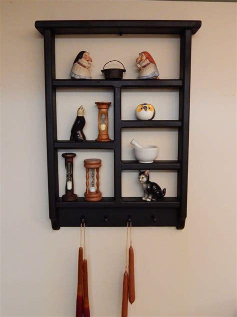 Black Wooden Shelf by Vintage Primitive Country Farmhouse Black Wooden Shelf W