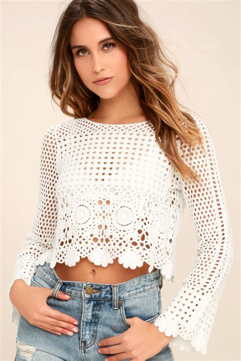 White Crochet Sleeved Shirt 1 white crochet top sheer lace top sleeve crop top