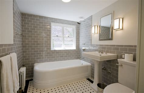 Modern Bathroom White Subway Tile Gray Subway Tile Contemporary Bathroom Yowell