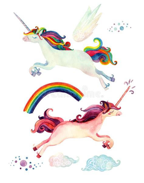 unicorn fairy tale illustrations watercolor fairy tale collection with flying unicorn