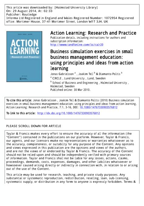 themes in education action research pdf business simulation exercises in small business management
