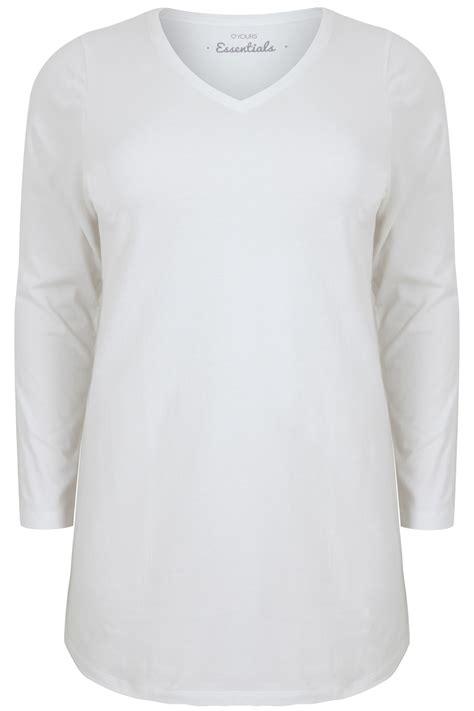 Sleeve V Neck Plain T Shirt white sleeve v neck plain t shirt plus size 16 to 36